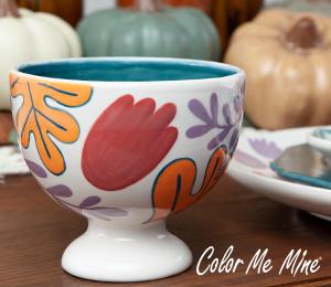 Crystal Lake Floral Pedestal Bowl