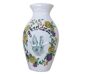 Crystal Lake Floral Handprint Vase